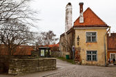 Old House with Chimney in Old Tallinn, Estonia — Stock fotografie
