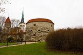 City Wall and Tower Fat Margarita in Old Tallinn, Estonia — Stock Photo
