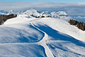 Skiing and Snowboarding in French Alps — Stock Photo