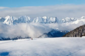 Panoramic View on Mountains and Two Trekking in French Al — Stock Photo