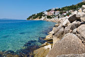 Blue Sea with Transparent Water and Rocky Beach in Croatia — Stock Photo