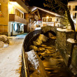 Illuminated Central Square of Megeve in French Alps - Stock Photo