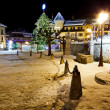 Illuminated Christmas Tree on Central Square of Megeve in French - Stock Photo