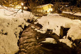 Mountain River in Megeve at Night, France — Stock Photo