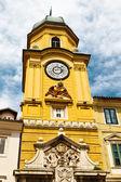 Yellow Clock Tower with Relief in Rijeka, Croatia — Stock Photo