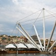 Stock Photo: Genova Old Port Harbor with it's Attractions In a Cloudy Day, It