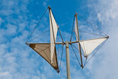 White Weather Vane in Genoa Dock, Italy — Stock Photo
