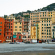 Colorful Facades of Houses on beach of Camogli, Italy — Stock Photo #9412487