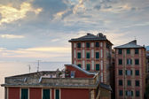 Sunset Sea and Houses in Village of Camogli near Genoa in Italy — Stock Photo