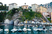 Boats in the Bay of Camogly in Italy — Stock Photo