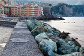 Breakwater with Huge Rocks in the Village of Camogli, Italy — Stock Photo