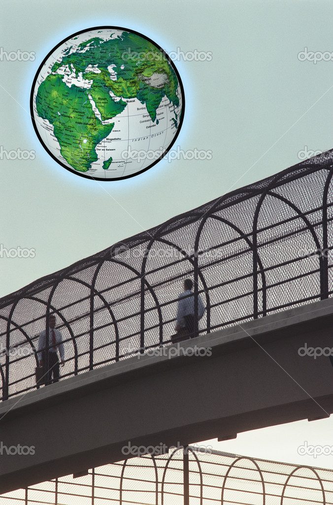 Two men on the bridge and globe in the sky — Stock Photo #9618986