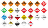 Hazardous materials - Hazmat Placards — Stock Vector