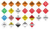Tehlikeli madde - hazmat posterlerini açmaları — Stok Vektör