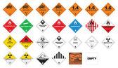 Tehlikeli madde - tehlikeli madde etiketleri — Stok Vektör
