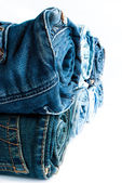 Roll blue denim jeans — Stock Photo