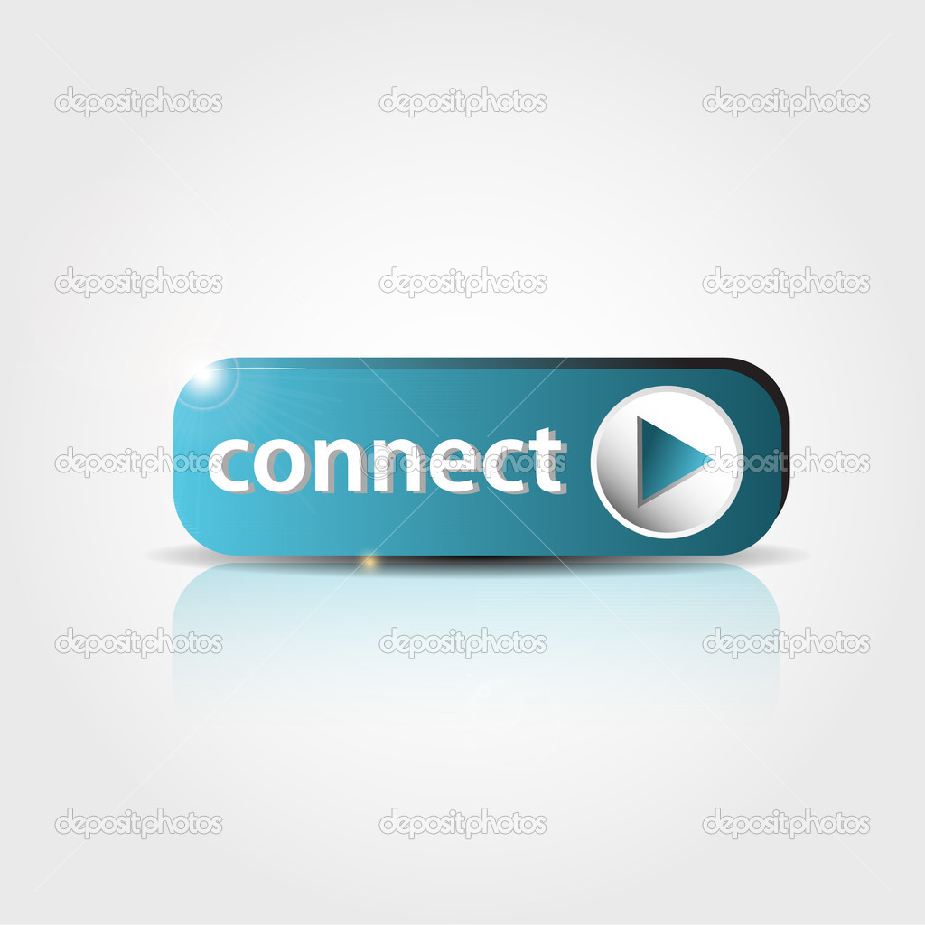 Blue connect button with shadow and reflections — Stock Vector #10050653