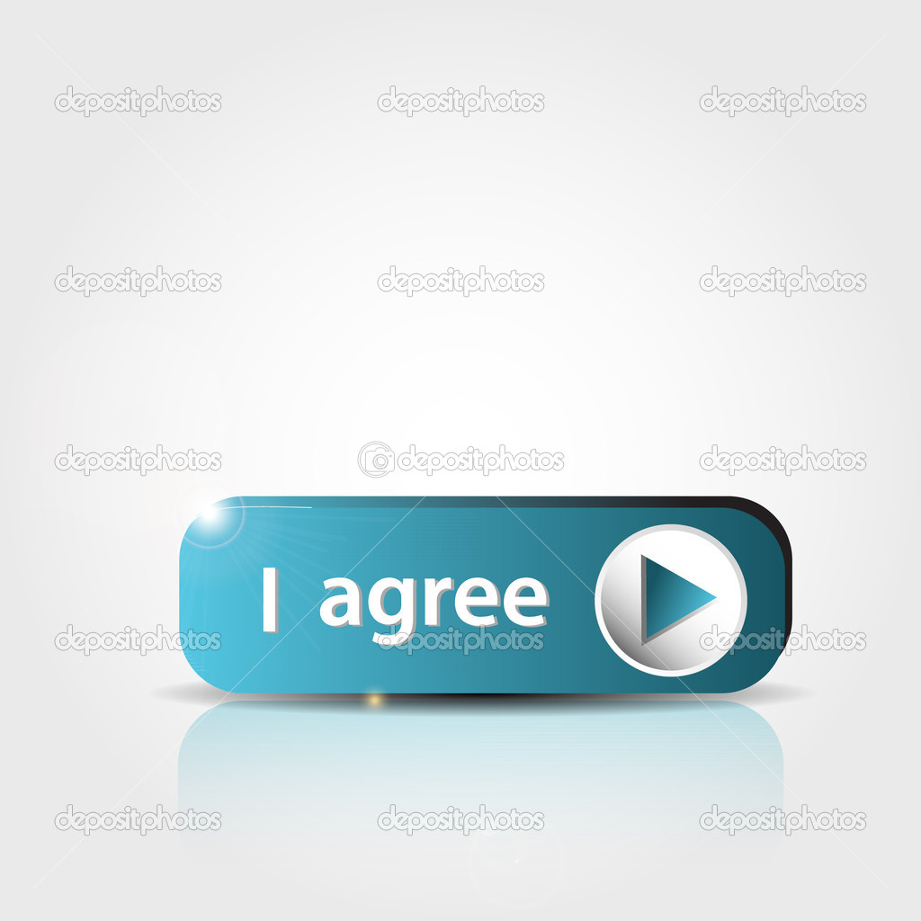 Blue I agree button with shadow and reflections — Stock Vector #10052809