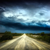 Way over cloudy stormy sky — Stock Photo