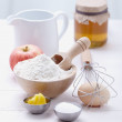 Ingredients and tools to make a cake, flour, butter, sugar,eggs — Stock Photo