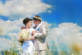 Wedding couple walking — Stock Photo