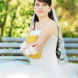 The dreams bride with a book — Stock Photo