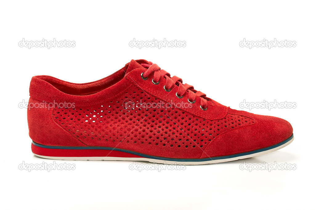 Red suede shoes — Stock Photo #8858323