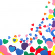 Colorful foam confetti hearts — Stock Photo