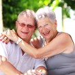 Happy senior mother and son — Stock Photo
