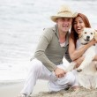 Young couple with a dog sitting on the beach — Stock Photo