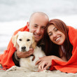 Romantic couple with a dog having fun on the beach — Stok fotoğraf