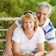 Mature couple smiling and embracing. — Stock fotografie