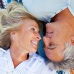 Happy romantic couple outdoors — Stock Photo