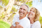 Happy mature couple outdoors — Stok fotoğraf