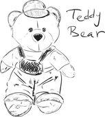 Teddy bear sketch cartoon vector illustration — Stock Vector