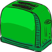 Toaster green cartoon sketch vector illustration — Stock Vector