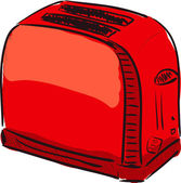 Toaster red cartoon sketch vector illustration — Stock Vector