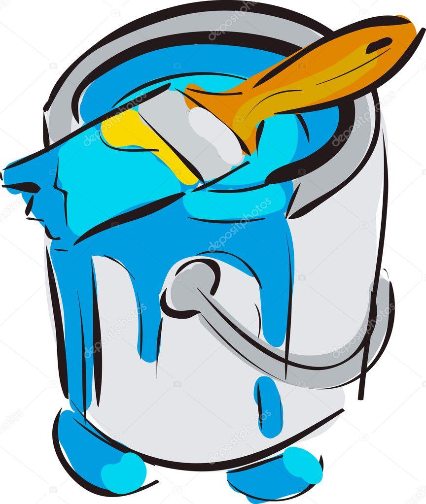 Secchio con illustrazione vettoriale pennello blu cartone