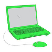 Illustrazione vettoriale portatile verde cartoon schizzo — Vettoriale Stock