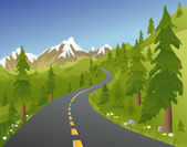 Summer Mountain Road — Stock Vector