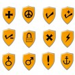Orange Shield icon set — Stock Vector #8831781