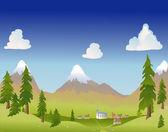 Summer mountain village — Stock Vector