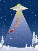 Santa Abducted by UFO — Stock Vector