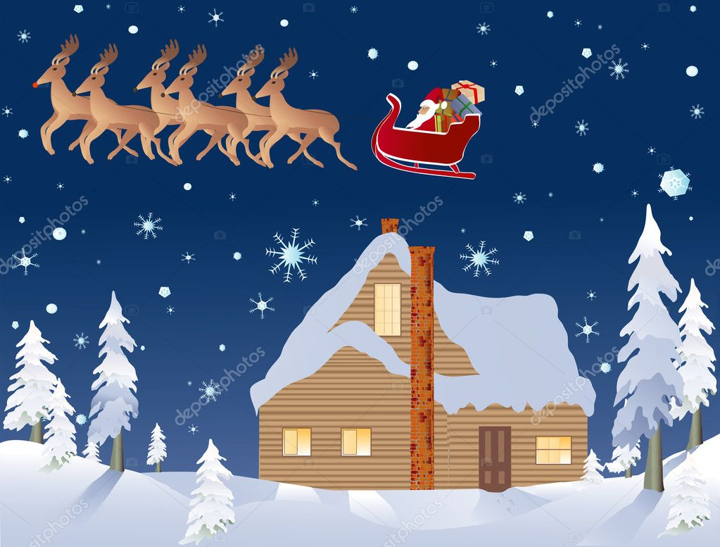 Vector based illustration with cabin, sleigh and reindeer as part of the background — Stock Vector #8831612