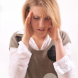 Young woman with headache — Foto de Stock