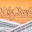 Stock Photo: US Constitution and dollar