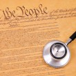 Stock Photo: US Constitution and stethoscope