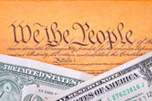 US Constitution and dollar — Stock Photo