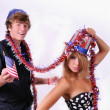 Uncle Sam and young lady — Stock Photo