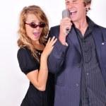 Singing couple — Stock Photo